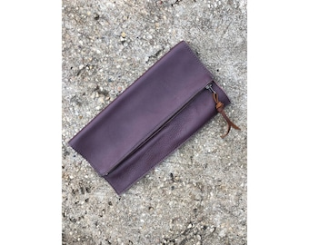 Limited Edition FOLDOVER CLUTCH Purple Leather • Buttery Soft Leather Bag