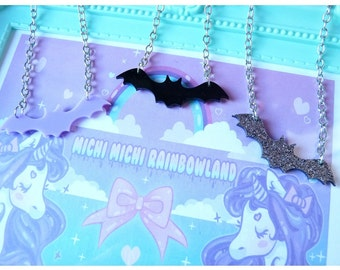 Pastel Goth Bat Acrylic Necklace or Bracelet