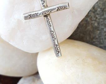 Hill Tribe Fine Silver Cross~Fine Silver 999~Karen Hill Tribe Silver Tribal Jewelry~Handmade Cross Pendant~Cross Charm~JewelsandMetals.