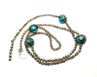 Vintage Silver Blown Glass Bead Garland With Blue Large Beads,53 Inches Long, German, Feather Tree