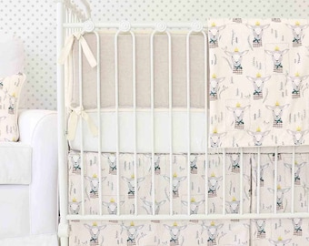 Langston's Lamb Woodland Crib Bedding | 2 & 3-Piece Baby Boy Bedding Set in Ivory and Linen | Neutral Woodland Nursery Decor