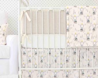 Langston's Lamb Woodland Crib Bedding | 2 & 3-Piece Baby Boy Bedding Set in Ivory and Linen | Neutral Woodland Nursery Decor