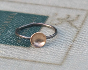 Two Tone Tiny Pool Ring- minimalist ring, alternative engagement ring, modern ring, organic cup ring, two tone ring, lunar ring