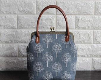 the tree- Clutch Purse (Cotton Fabric with Metal Frame and Bag Belt) Kiss Lock Clutch Purse, Modern Bag, Metal Frame Purse