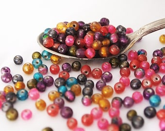 15 gram Round Glass Bead Mix Assorted Colours Jewel Tones Size 4mm approximately 145 beads