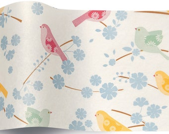 5 sheets of pastel bird - leaves for wrapping, decoration, tissue paper