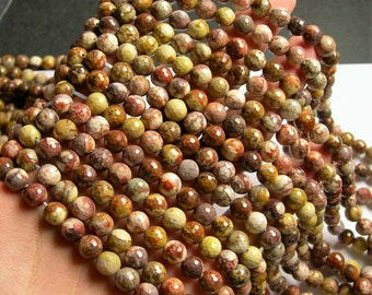 Birdseye Rhyolite - 8 mm faceted round beads - 1 full strand - 49 beads - A quality - RFG997