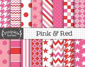 Pink Digital Paper, Pink and Red Digital Scrapbook Paper, Digital Download, Chevrons, Polka Dots, Stars, Quatrefoil, Checks, Houndstooth, CU