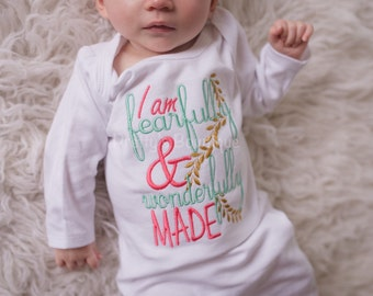 Newborn baby girlcoming home outifit-- I am fearfully & wonderfully made gown-- coming home outfit gown- can customize colors