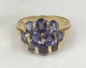 14k Yellow Gold Synthetic Tanzanite Cluster Ring