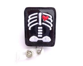Radiology badge reel id holder - Chest Xray with heart - black patent vinyl badge reel - radiologist radiology Xray tech badge reel