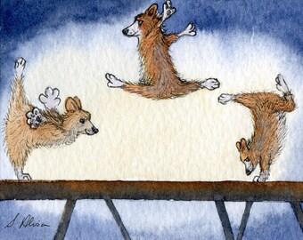 Welsh Corgi dog 8x10 art print - The OlympiCorgi Games - artistic gymnastics