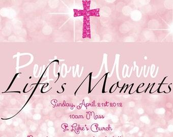 Pink First Holy Communion/Baptism Invitation