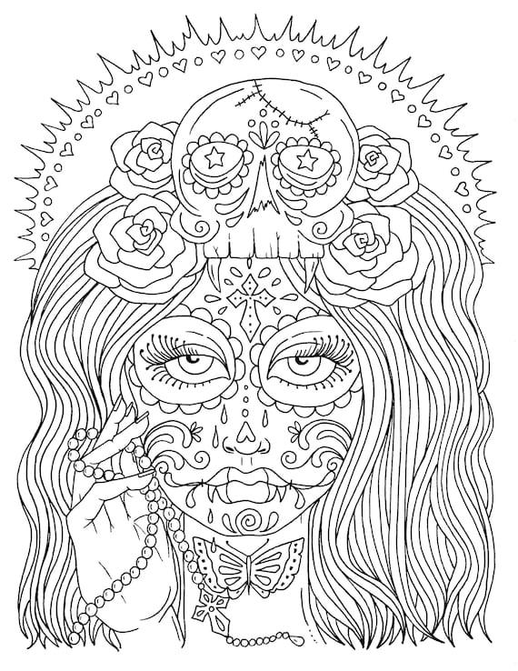5 Seiten-Tag der toten Mädchen Digital Malbuch Färbung