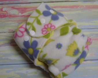 Petite Fleece AI2 Hybrid Fitted Organic Cotton Cloth Diaper Pink, Yellow, Purple Flowers 8-12 lbs