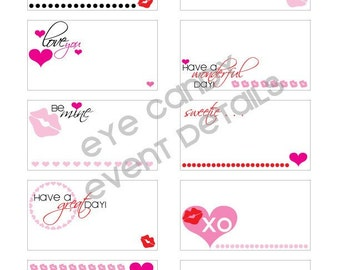 NOTECARDS - Valentines Day - Love Notes - Kiss Me Valentines Day - DIY Printable