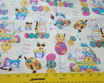 Happy Happy Easter cotton woven 1yd