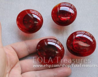 Red Rose Art Glass Cabinet Knob Pull Handle Drawer Door