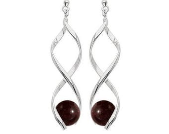 Swirl silver plated - Garnet Earrings