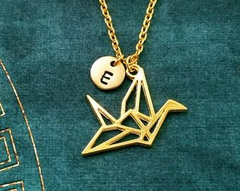 Paper Crane Necklace Paper Crane Jewelry Origami Necklace Initial Geometric Crane Charm Necklace Japanese Crane Pendant Geometric Necklace