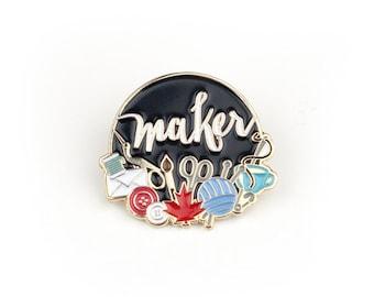 Canadian Makers - Enamel pin in black, lapel pin, Canada, Canadian