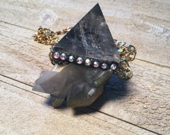 Clear Quartz/Titanium Aura Quartz Cosmic Pyramid Necklace