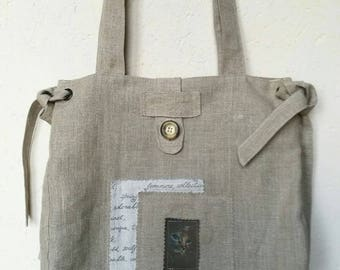 Linen tote bag fully lined in Liberty of good quality
