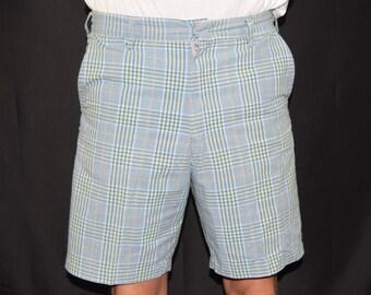 "Vintage Men's 50's 60's HADWAY Rockabilly Mod Blue Plaid Bermuda Shorts 32"" W"