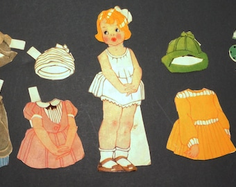 1940s 1950s CAROLYN Paper Doll and Clothes Vintage Retro