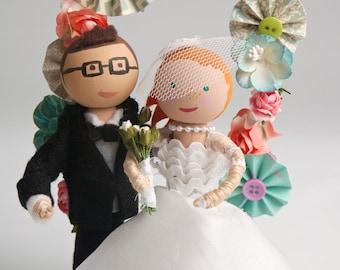 Handmade, Customized, Bride and Groom, Wooden Peg Doll, Wedding Cake Topper