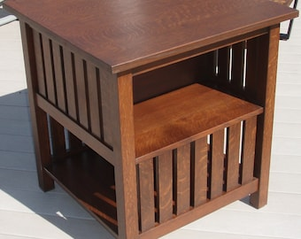 Hand crafted repoduction Stickley 516 arts and crafts table with open bookcase.