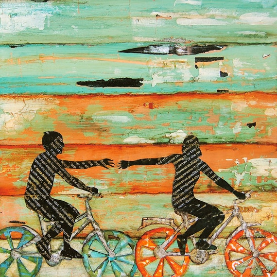 Valentines day bicycle couple beach art print or canvas bike for Bicycle painting near me