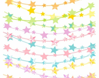ON SALE Rainbow Star Clip Art _ Star Bunting Clip Art. Star Bunting Banner Clip Art, Star Flag Banner Bunting, Commercial Use Graphics
