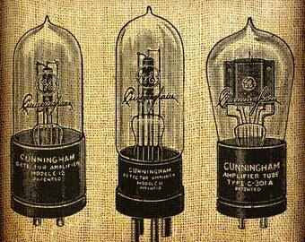 Transistor Tube Tubes Vintage Digital Image Transfer Download 300 dpi for Pillows Totes Bags Napkins Towels