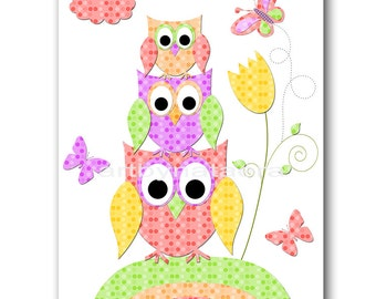 Owl Decor Owl Nursery INSTANT DOWNLOAD Art Digital Baby Room Digital Art Baby Girl Nursery Decor Download Digital Download Art 8x10 11X14