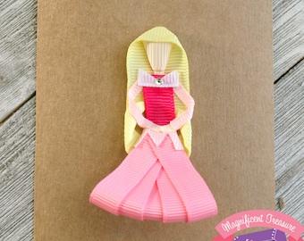 Sleeping Beauty Hair Clip - Aurora Hair Bow - Aurora Pin - Sleeping Beauty Ribbon Sculpture - Disney Princess Hairbow - Toddler Clippie