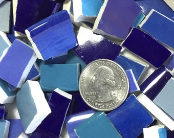 Mosaic Tiles China Broken Dishes Plate Pieces Art Supply Tile Mosaics Craft  Shades of Blue Tile (T#382)