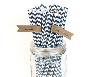 500 Navy Blue Paper Straws, Bulk, Wholesale, Navy Chevron Straws, Retro Straws, Cake Pop Sticks, Wedding Birthday Baby Shower, Made in USA