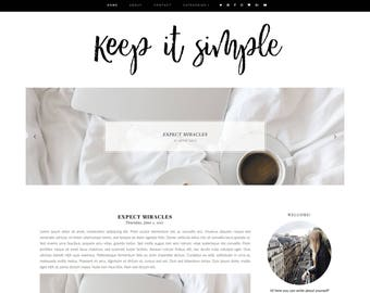 Keep It Simple Premade Blogger Template - Responsive Blogger Template - Feminine Blogger Template -Minimal Template-Blogger Template