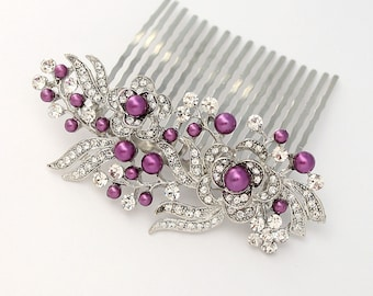 Purple Hair Comb, Bridal Bridemaid Hair Pin, Purple Wedding Hair Accesory, Crystal Pearl Comb, Purple Prom Hair Pin, Purple Comb