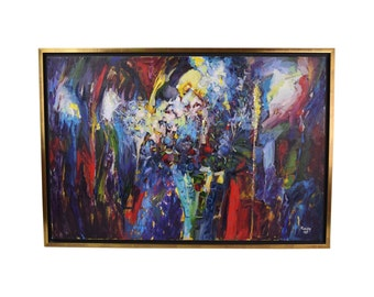 "Vintage Sevki Kuzay Abstract Expressionist Oil Painting ""A Bouquet"""