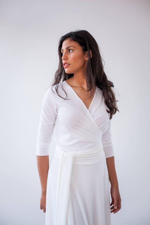 Verkauf lange Ärmel Hochzeit weiße lange Kleid mit Ärmeln