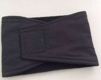 Dog Belly Band - Dog Diaper - READY TO MAIL - Black with Waterproof Pul - Large