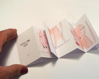 Art zine, Mini art zine, pink cat, cute cat zine, illustration zine, cat drawing zine, art book, mini zine, concertina book, handmade zine