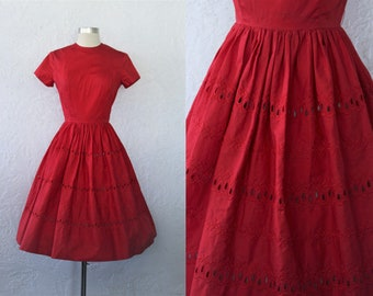 1950s Red Dress / Vintage 50s Jo Jr. Cherry Red Cotton and Eyelet Embroidered Full Skirt Day Dress /Rockabilly Sock Hop / Short Sleeve - XS