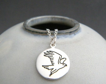 "sterling silver falcon necklace. spirit animal charm. power animal pendant. bird totem. talisman jewelry. nature. soul meditation gift 5/8"""