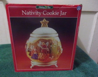 Nativity Scene Footed Cookie Jar