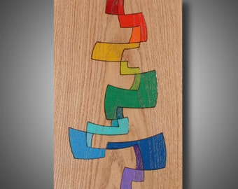 """11.25"""" x 17.25"""" - Original Abstract Art - Wood burned Design Colored with Prismacolor Pencils - Modern Home Decor - """"Nirvana Rising"""""""