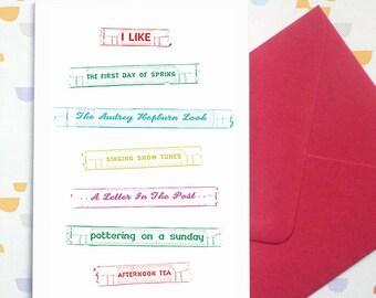 List no. 1 - greetings card