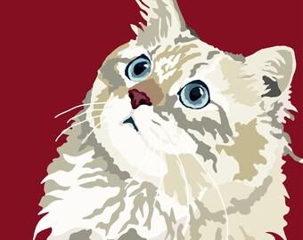 Fluffy Kitten print, 9 x 12.5